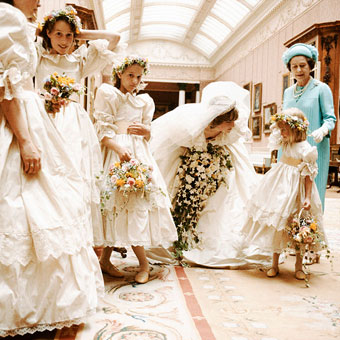 Lady Diana Spencer with flower girls and bridesmaids