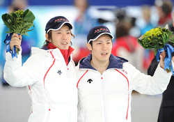Olympic game medalist bouquet, image from mainichi.jp